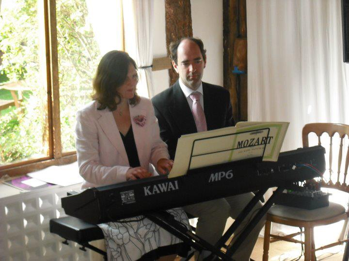 Sue and Andrew Bolt on their Kawai Piano
